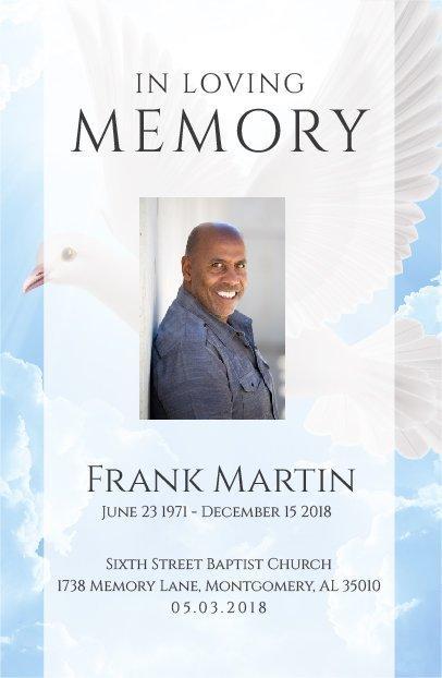 No Fold Memorial Funeral Program 1089